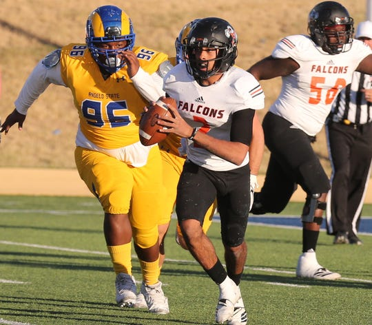 Angelo State University's Breyuen Robinson chases down a UT Permian Basin player during a game at LeGrand Stadium at 1st Community Credit Union Field on Saturday, Oct. 26, 2019.