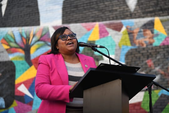Delegate Sheree Sample-Hughes (D-37A, Dorchester and Wicomico) speaks at the ribbon cutting ceremony for his mural on the corner of Church Street and Route 13 in Salisbury, Maryland, on Tuesday, Oct. 29, 2019. Sample-Hughes,  the only Democrat and person of color from the Shore in the House, presented the mural's artist with an official citation of congratulation from the Maryland House of Delegates.