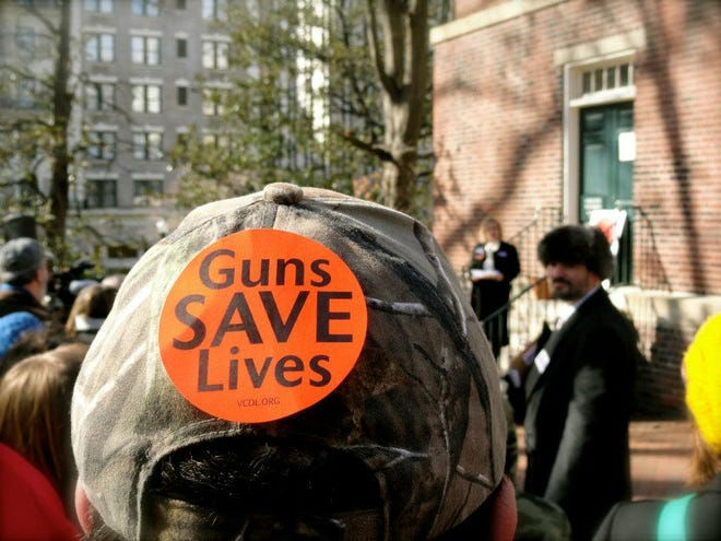 Gun rights supporters attend a Virginia Citizens Defense League rally in Richmond.