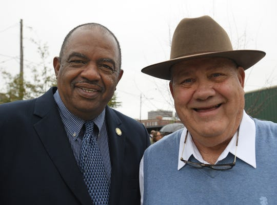 Shreveport City Councilmen Willie Bradford and James Flurry at park ribbon cutting.