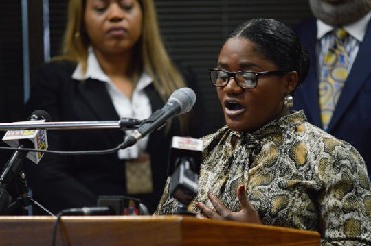 Caddo Parish juvenile judge Ree Casey-Jones speaks during a news conference Tuesday, Oct. 29, 2019, in the Government Plaza lobby.