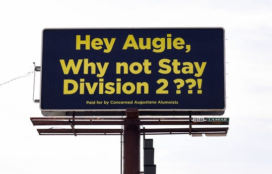 """A billboard """"paid for by Concerned Augustana Alumni"""" stands at the intersection of 39th St. and Minnesota Ave. on Tuesday, October 29, in Sioux Falls."""