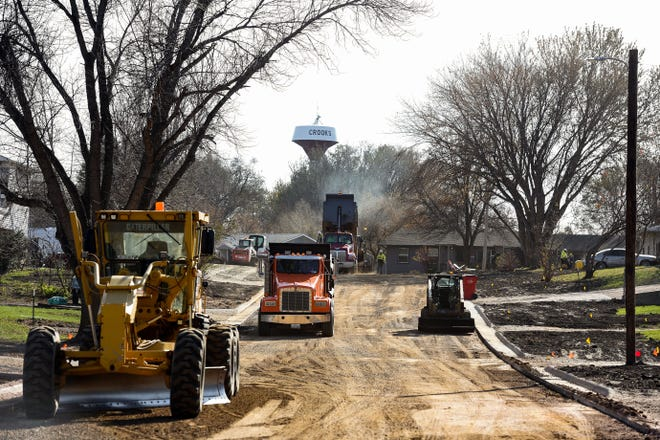 Construction continues on Grandeur Ave. in Crooks on Tuesday, October 29.