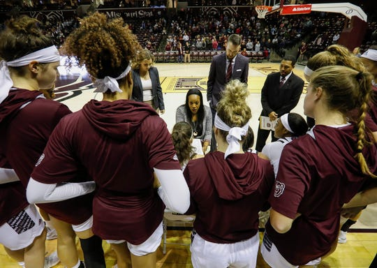 Missouri State Lady Bears head coach Amaka Agugua-Hamilton coaches her players during an exhibition game against Lincoln at JQH Arena on Monday, Oct. 28, 2019.