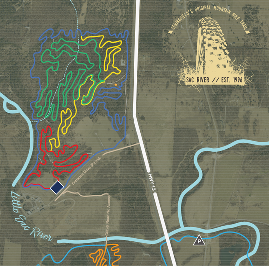 Sac River Mountain Bike Trails is located three miles north of I-44 and west of Highway 13.