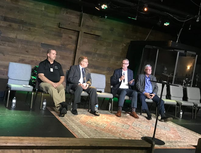 Pictured, from left, are Tom Van De Berg with the Greene County Medical Examiner's Office, Springfield Mayor Ken McClure, Clay Goddard with the Springfield-Greene County Health Department and Rep. Lynn Morris. The four spoke at the Emergency Overdose Summit held Tuesday, Oct. 29, 2019, at The Well in Springfield, Mo.