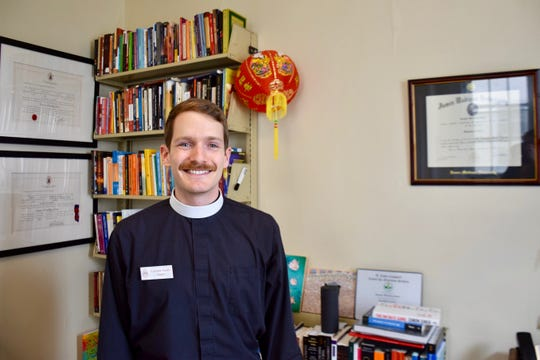 The Rev. Connor Gwin, Stuart Hall's chaplain, poses in his office on Oct. 29, 2019.