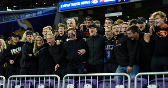 The Tech student section gets pumped up before the Tigers take on Holy Angels Monday, Oct. 28, 2019, at US Bank Stadium for the Class A state semifinals.