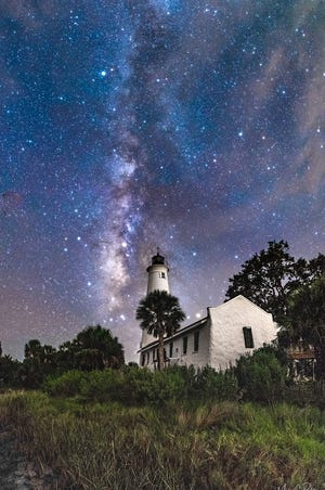 The Milky Way shimmers above in this image of the St. Marks Lighthouse. The St. Marks National Wildlife Refuge resumed entrance fees on June 16, 2020, to support visitor services. Pay with cash and checks at the honor fee station on Lighthouse Road. The daily car fee is $5 and daily bicycle fee is $1.  Motorcycles are $5.