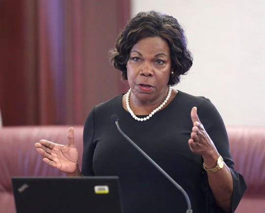 Senate Democratic Leader Audrey Gibson, D-Jacksonville, speaks at a pre-legislative news conference on Tuesday Oct. 29, 2019, in Tallahassee, Fla.