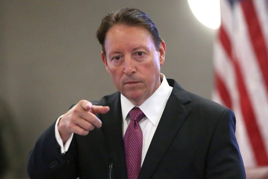 Senate president Bill Galvano, R-Bradenton, speaks at pre-legislative news conference on Tuesday Oct. 29, 2019, in Tallahassee, Fla. Florida Gov. Ron DeSantis wants his state to set up a system that will require employers to verify the immigration status of job applicants. But it's unclear if that effort will get any traction among lawmakers, especially since a similar effort failed during the most recent legislative session earlier this year. (AP Photo/Steve Cannon)