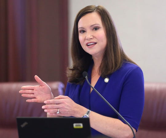 Florida's attorney general Ashley Moody speaks at pre-legislative news conference on Tuesday Oct. 29, 2019, in Tallahassee, Fla. (AP Photo/Steve Cannon)