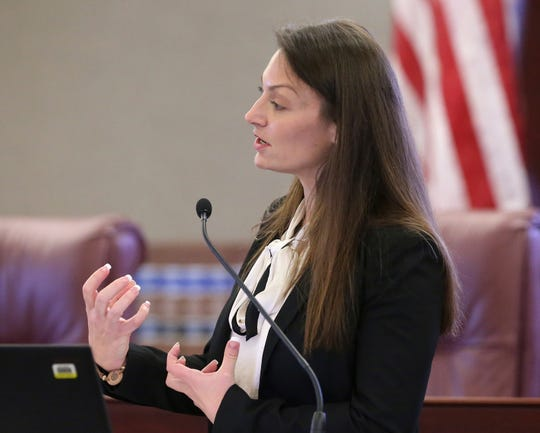 Agriculture commissioner Nikki Fried speaks at pre-legislative news conference on Tuesday Oct. 29, 2019, in Tallahassee, Fla. (AP Photo/Steve Cannon)