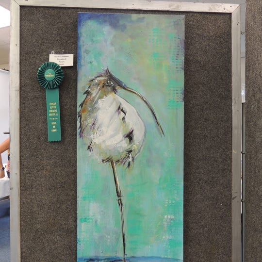 """Best of Show went to Susan Lavendar's """"Shore Bird"""" at the Pelican Island Preservation Society's2019 Indian River Bird and Nature Art Show in Sebastian."""