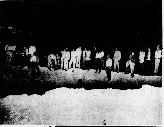 Onlookers in 1947 view a crater near Juárez described as about 50 feet in diameter and 24 feet deep. It was caused by the impact of an off-course V-2 rocket.