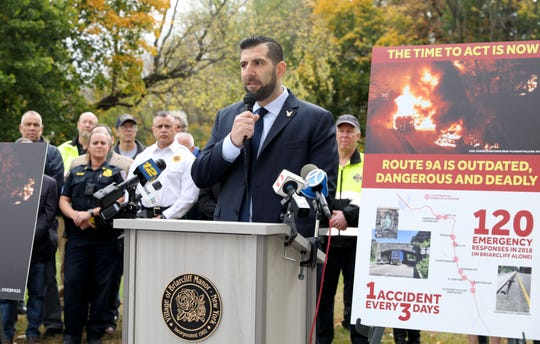 Briarcliff Manor Mayor Steven Vescio talks about the need for a traffic safety and quality of life study along the heavily trafficked Route 9A in Briarcliff Manor, during press conference in the village, Oct. 29, 2019.