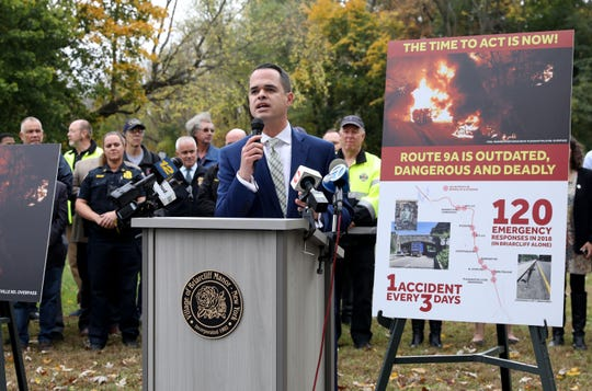New York State Senator David Carlucci talks about the need for a traffic safety and quality of life study along the heavily trafficked Route 9A in Briarcliff Manor, during press conference in the village, Oct. 29, 2019.