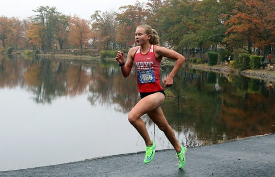 North Rockland's Katelyn Tuohy won her race and the North Rockland girls won the Rockland County Cross-Country Championship at Bear Mountain Oct. 29, 2019.