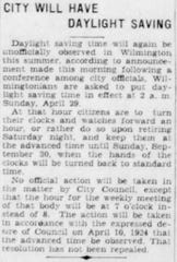 An announcement in the April 14, 1928 newspaper regarding daylight saving time.