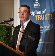 Better Business Bureau of North Texas CEO and President Jay Newman spoke during the BBB Torch Awards for Ethics luncheon Tuesday at the Wichita Falls Country Club.