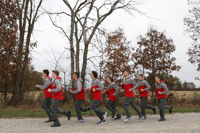 The Sheridan High School boys cross country team is heading to the state finals for the seventh straight year. The finals are Saturday at National Trail Raceway in Kirkersville. The team, lead by William Wilke , left, is Levi Sweazy, Job Covey, Lance Grosse, Ross Emmert, Luke Foster, Evan Powell and Hugh Sweazy.