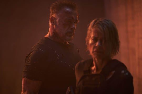 "Arnold Schwarzenegger and Linda Hamilton reunite in ""Terminator: Dark Fate."""