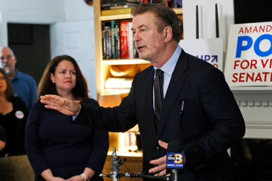 Actor Alec Baldwin speaks to supporters of Virginia Senate candidate Amanda Pohl in Midlothian on Oct. 22, 2019.