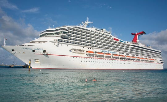 The Carnival Sunrise, docked in Grand Turk, Bahamas.