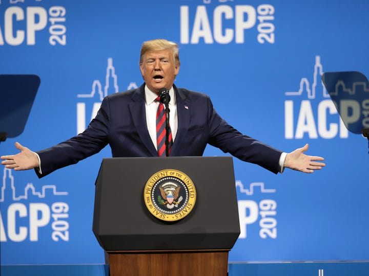 President Donald Trump addresses the International Association of Chiefs of Police convention on Oct. 28, 2019 in Chicago.