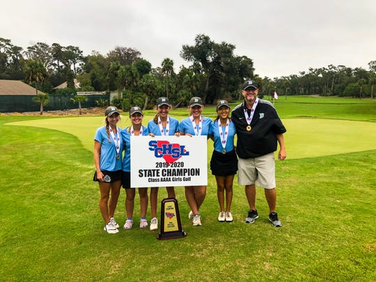 The Daniel girls golf team won the Class AAAA state championship by 52 strokes. (Left to Right): Adrienne O'Brien, Sarah Whitfield, Peyton O'Brien, Courtney Collins, Jennifer Gao, Andy Swords.