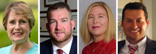 Red Bank council candidates, from left: incumbent Councilwoman Kathleen Horgan (D), incumbent Councilman Erik Yngstrom (D), Allison Gregory (R), Jonathan Maciel Penney (R)