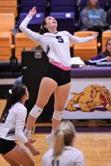 Wylie's Lilly Kate Doby (5) goes up for a kill against Cooper in last Tuesday's regular season finale. Doby had 10 kills, six digs, an ace and a block assist to earn Abilene Reporter-News Local Player of the Week for the week ending Nov. 2.