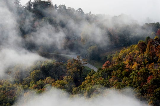 Scenes along the Blue Ridge Parkway as the sun rises October 28, 2019.