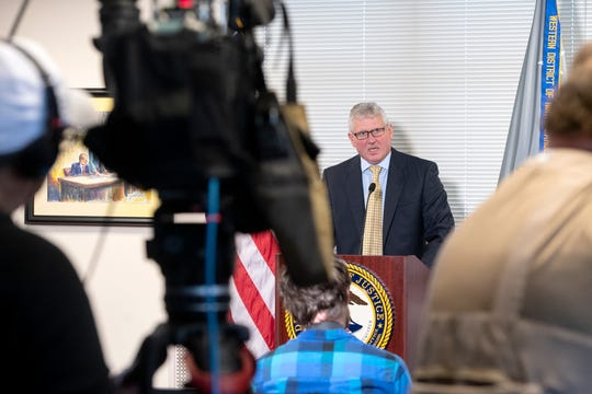 Andrew Murray, U.S. Attorney for the Western District of North Carolina, holds a press conference regarding Buncombe County Sheriff Quentin Miller's refusal to hold a man on an ICE detainer at the U.S. Courthouse on Oct. 30, 2019.