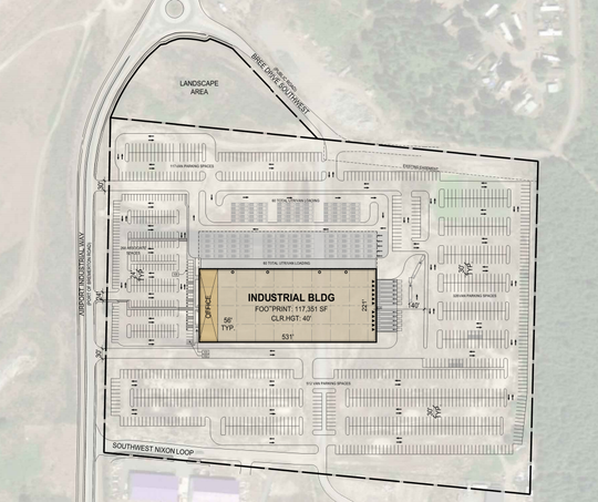 A conceptual site plan for a proposed warehouse and delivery center near the Port of Bremerton.
