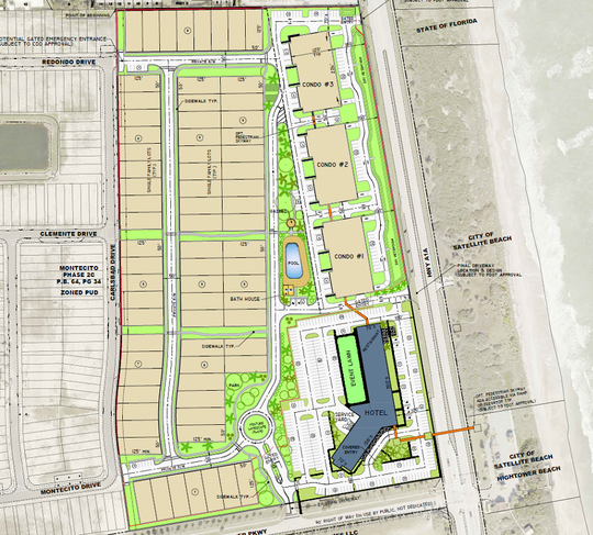 This conceptual plan depicts The Vue at Satellite Beach, a 27-acre development of condominiums, single-family homes and a hotel at State Road A1A and Shearwater Parkway.
