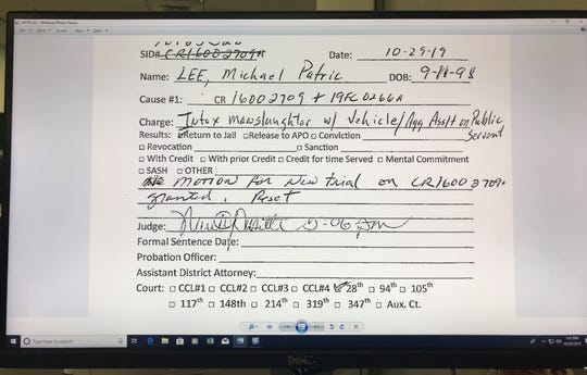Nueces County Court records show Michael Patrick Lee was granted a motion for a new trial on Oct. 29, 2019. Lee was sentenced to 20 years in prison for intoxication manslaughter and four counts of aggravated assault on a peace officer.