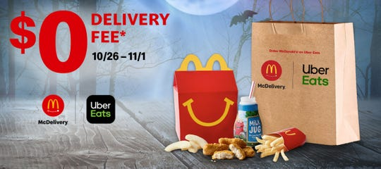 Order McDelivery on Uber Eats and get a $0 delivery fee from 10/26 – 11/1