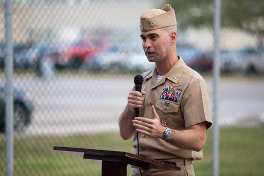 Naval Air Station Corpus Christi Capt. Christopher Jason speaks during a ribbon cutting ceremony at Naval Air Station Corpus Christi for an underground water pipeline extension project and a security enclave project at Corpus Christi Army Depot on Wednesday, Oct. 30, 2019.