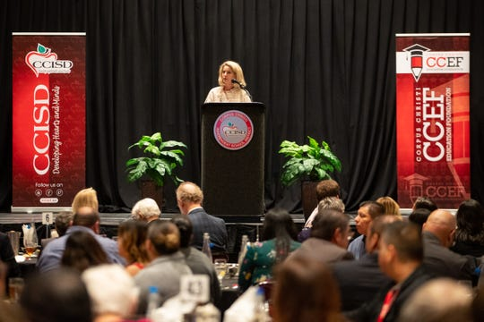 Corpus Christi Independent School District board President Catherine Susser speaks during the Corpus Christi Education Foundation's annual State of the District luncheon at the American Bank Center on Wednesday, Oct. 30, 2019.