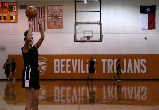 Kamaria Gipson plays for Beeville's basketball team, as seen photographed Wednesday, Oct. 30, 2019, at Jones High School. Gipson is committed to San Diego State University.