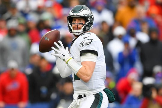 Eagles quarterback Carson Wentz passes the ball during a win against the Bills on Sunday.
