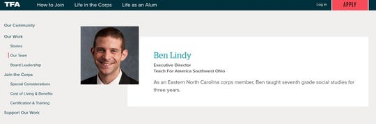 Ben Lindy is on leave from Teach For America while he runs his school board campaign, but he is still listed as executive director on the TFA website.