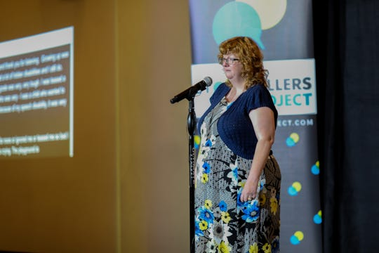 Diana Mairose, an advocate for Hamilton County Developmental Disabilities Services tells her story at Cincinnati Storytellers: Growing Up on Tuesday Oct. 29, 2019.