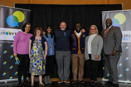 Storytellers and coaches Anne Saker and Byron McCauley stand together after Cincinnati Storytellers: Growing Up, on Tuesday, Oct. 29, 2019.