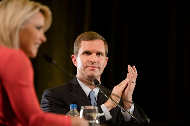 Andy Beshear claps for NKU for hosting the final Kentucky gubernatorial debate between incumbent Republican Matt Bevin and Democratic candidate Andy Beshear on Tuesday, Oct. 29, 2019 at Northern Kentucky University in Highland Heights, Ky.