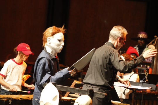 Conductor David Steinquest had some scary moments on stage during the APSU Percussion Ensemble Halloween Concert on Tuesday, Oct. 29, 2019.
