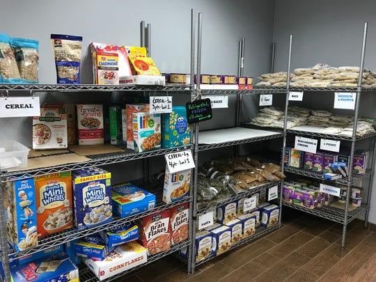 Stocked shelves in the market at the Franklin Food Bank.