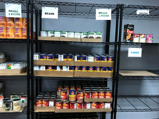 More stocked shelves in the market at the Franklin Food Bank.