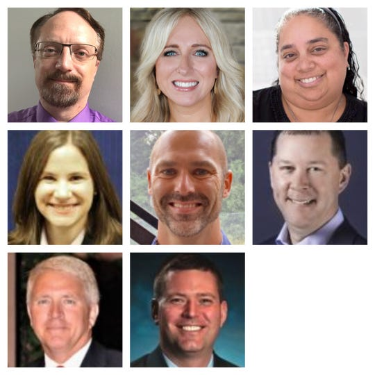 Johnston school board candidates Jason Arnold, Alicia Clevenger, Katie Fiala, David Gray, Stephen Kenney, Jerry Kinder, Soneeta Mangra-Dutcher and Lane Sires.